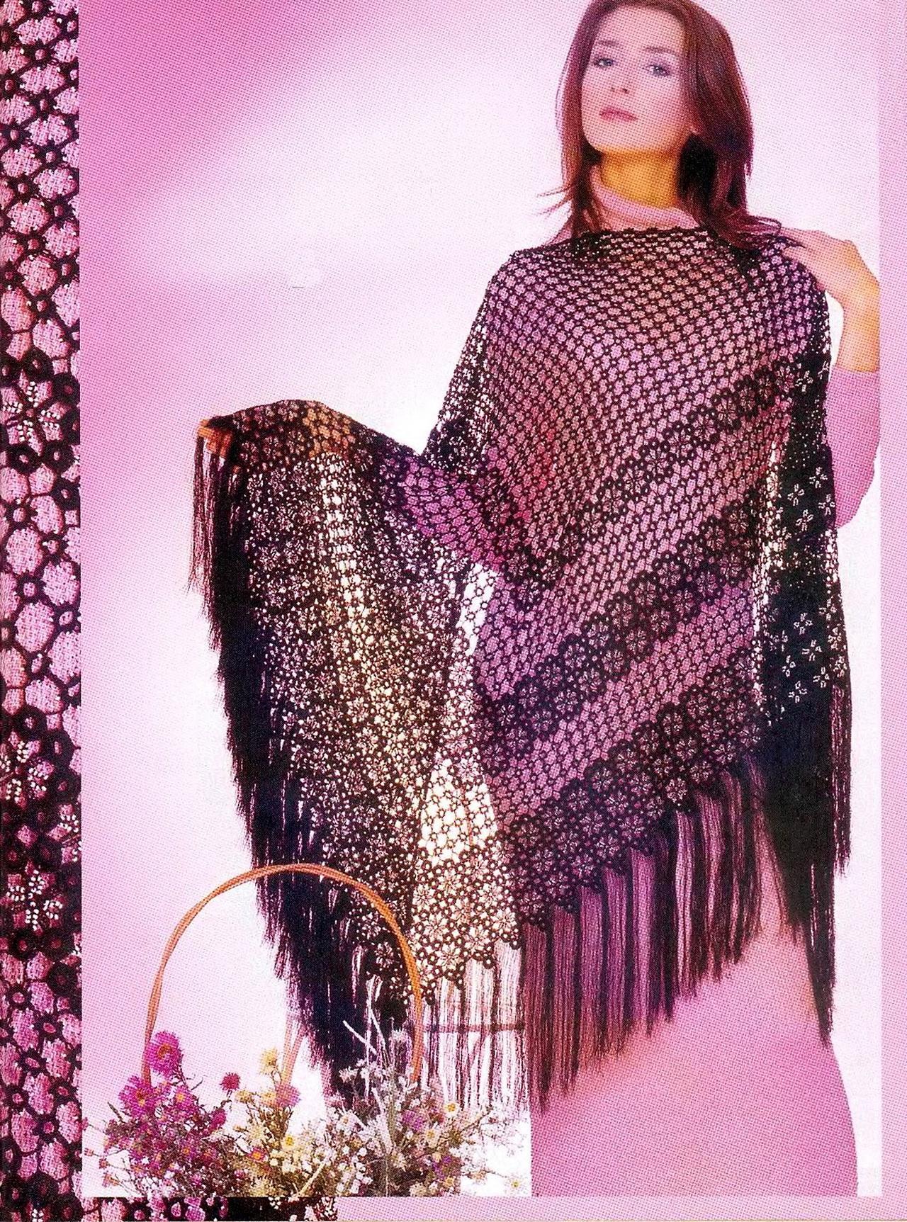 вязание шали схема жучки